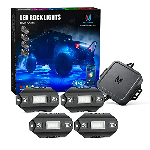 MICTUNING C1 4 Pods RGBW LED Rock Lights - Multicolor Underglow Neon Light Kit with Bluetooth Controller, Music Mode
