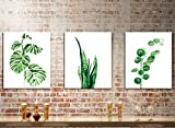 MADE4U [ 3 Pieces Split Series Green Leaves ] [ 20'' x 3 ] [ Thicker (1'') ] [ Wood Framed ] Paint by Numbers Kit with Brushes and Paints (Green Leaves 5) CRGP85