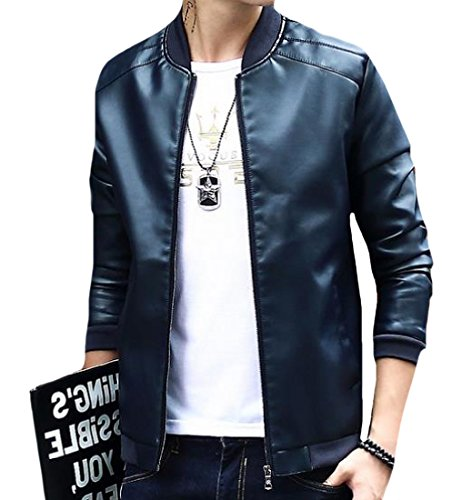 Casual Jacket Coat Pu Men's Loose Autumn Dark Blue Spring Leather Mogogo 8q5gASA