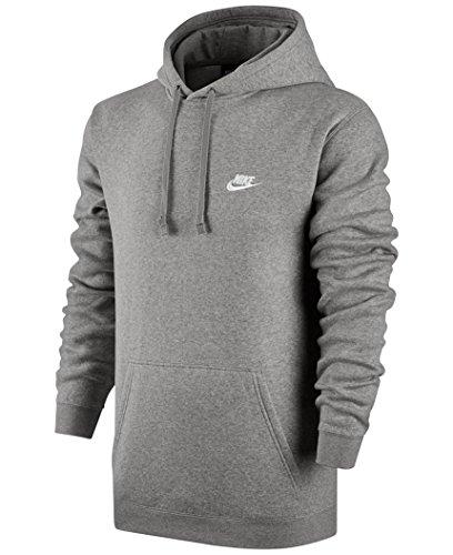 Nike Mens Sportswear Pull Over Club Hooded Sweatshirt - Medium - Grey/White