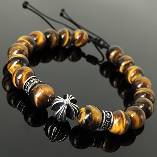 Precious Cross Pattern Design Bracelet for Men's Women's Healing Gemstone Protection with Brown Tiger Eye 10mm Beads, Adjustable Drawstring, & Genuine 925 Sterling Silver Parts