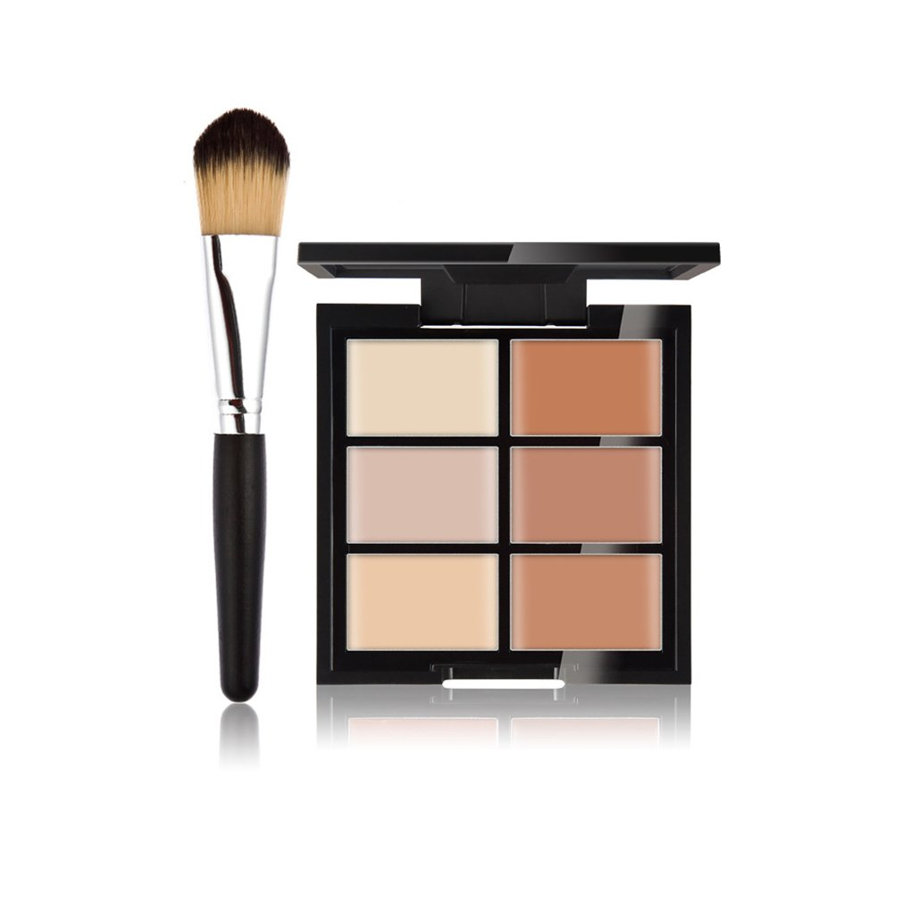 Pure Vie 6 Colors Cosmetics Cream Contour and Highlighting Makeup Kit, Color Correcting Cream Concealer Palette #11 + 1 Pcs Synthetic Foundation Powder Concealer Eye Shadows Makeup Brush