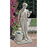 Water Fountain - 3 Foot Tall Hebe Goddess of Youth Garden Decor Fountain - Outdoor Water Feature