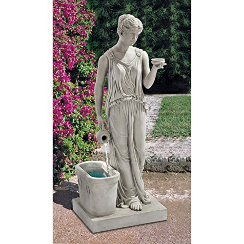 Water Fountain - 3 Foot Tall Hebe Goddess of Youth Garden Decor Fountain - Outdoor Water Feature by Design Toscano