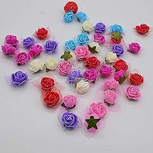 50Pcs/Lot 2Cm Diameter Mini PE Foam Rose Head Multicolor Artificial Silk Flowers Bouquet for Wedding Party Home Decoration Lake Blue 2