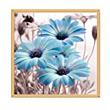 Allywit DIY 5D Diamond Painting,Chrysanthemum Drill Crystal Rhinestone Embroidery Pictures Arts Craft for Home Wall Decor Gift (Blue)