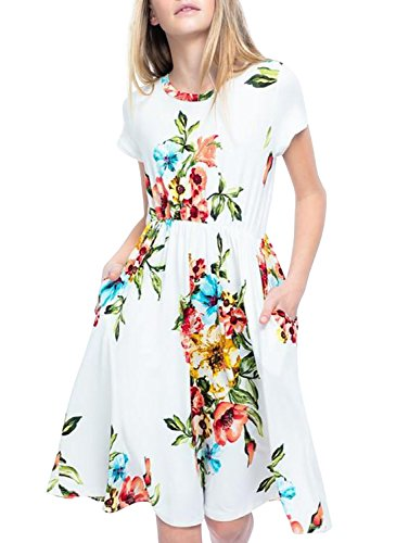 LEANI Girl's Summer Floral Printed Short Sleeve Midi Maxi Dress Casual Knee Length Pockets Dress by LEANI