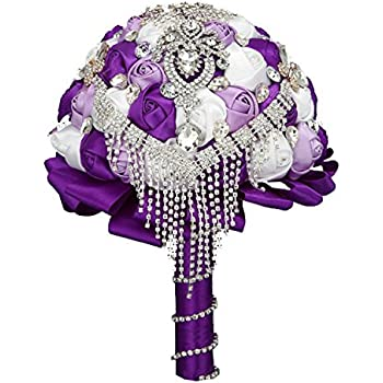 Flyme Wedding Bouquets,Bridal Bride Holding Flowers,Water Drops (Purple)