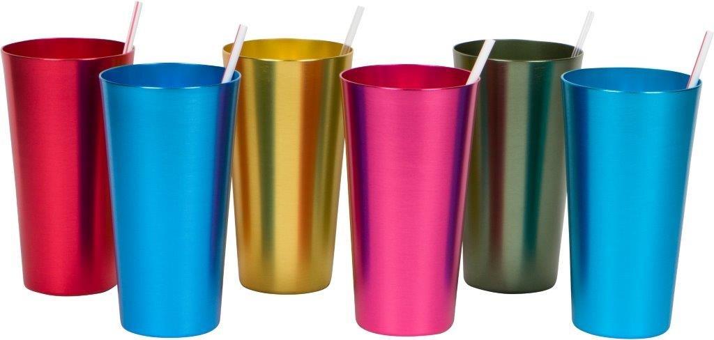 Trademark Innovations 20 oz. Retro Aluminum Tumblers - 6 cups - (Assorted Colors)