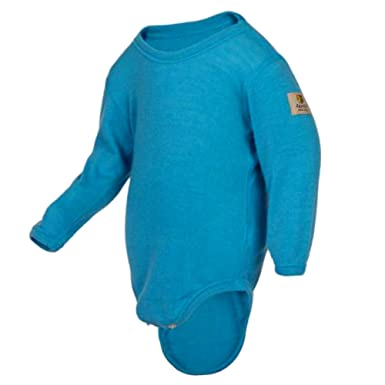 40a64e383 Amazon.com: Janus 100% Merino Wool Baby Bodysuit Long Sleeve Machine  Washable Made In Norway (Blue, 70): Clothing
