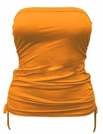 Womens Ladies Plus Size Side Tie Boobtube Strapless Bandeau Crop Vest Tops 8-26