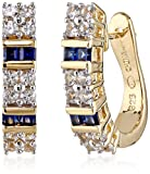18k Yellow Gold Over Sterling Silver Created Blue and White Sapphire Hoop Earrings