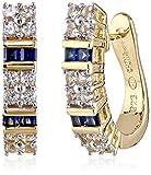18k Yellow Gold Over Sterling Silver Created Gemstone Hoop Earrings