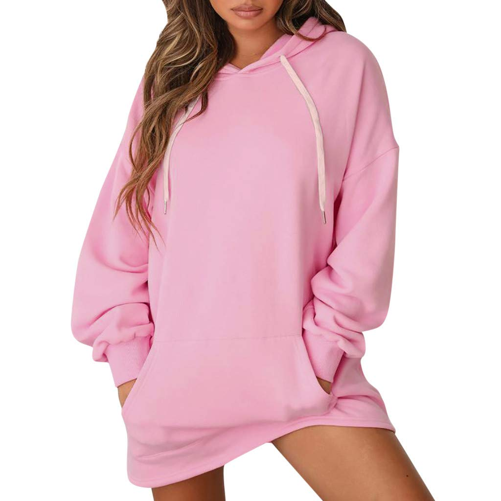 Yemenger Women Sweatshirt Long Sleeves Tunic String Hoodie Pockets Dress Pink Sweater by Yemenger_women tops