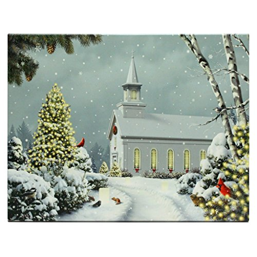 RAZ Imports 94491-24 x 18 x 1 – Church Battery Operated LED Lighted Canvas Batteries Not Included