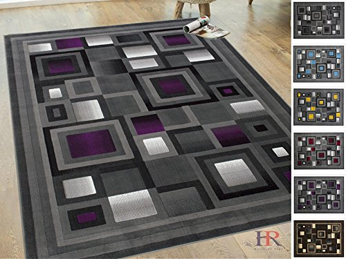 - Handcraft Rugs Purple and Gray Abstract Geometric Modern Squares Pattern Area Rug 2 ft. by 3 ft.(Doormat)