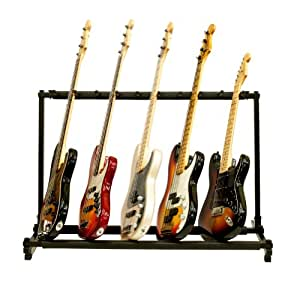 micromall 9 triple folding multiple guitar holder rack stand musical instruments. Black Bedroom Furniture Sets. Home Design Ideas