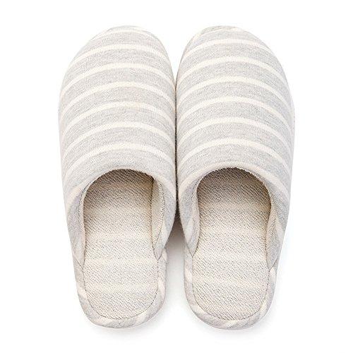 Cómodo Zapatillas antideslizantes del espesamiento del interior del invierno Las mujeres calientes de los deslizadores del algodón casan la casa con los deslizadores rayados (3 colores opcionales) (ta A
