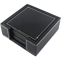 PINMEI Black Leather Drink Coasters with Coaster Holder-Set of 6 Coasters