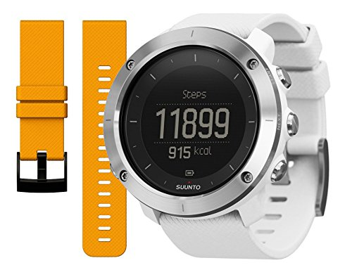 Suunto Traverse GPS Watch White and Amber Replacement Band Bundle