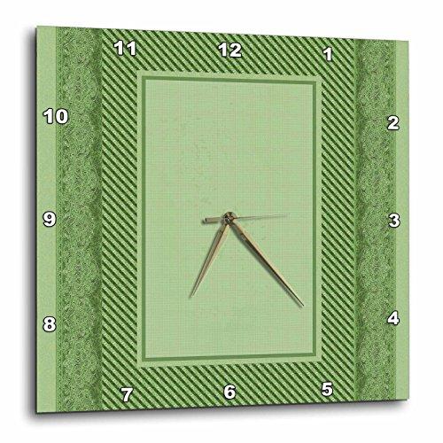 3dRose DPP_33416_1 Sage Green Striped & Damask Ribbon Frame Wall Clock, 10 by 10
