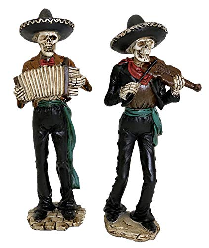 Gerson Skeleton Mariachi Day of The Dead Halloween Figurines - Set of 2