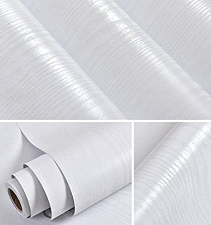 Faux White Wood Grain Contact Paper Self Adhesive Film Decorative Shelf Liner Roll Creative Covering For