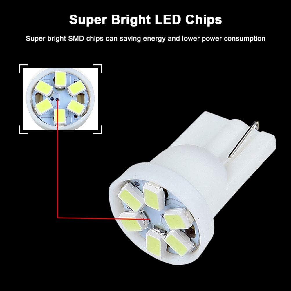 cciyu 6 Pack White T10 PC168 6-3020-SMD Led Lighting Bulbs Instrument Cluster Twist Lock