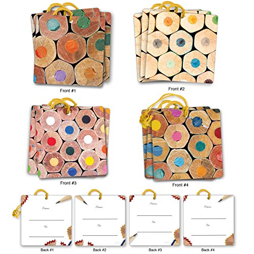 G3001 Pencil Me In: Set of 12 Thank You Themed Gift Tags Depicting An Up Close Photographic View Of Colored Pencils At Their Core,With Attached Cotton String (3 Tags Each of 4 Complementing Designs). by The Best Card Company
