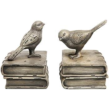 MyGift Vintage Style Decorative Birds U0026 Books Design Ceramic Bookshelf  Bookends/Paper Weights Home