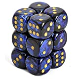Chessex Dice d6 Sets: Scarab Blue with Gold - 16mm Six Sided Die (12) Block of Dice