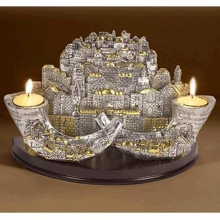 9 Branch Jerusalem Pewter Menorah - Heirloom Quality by Holy Land Gifts by Holy Land Gifts