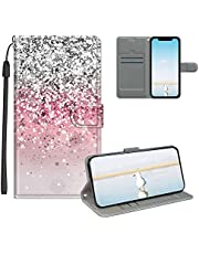 Cestor Strap Leather Case for Samsung Galaxy S21 Ultra,Women's 3D Painted Wallet Magnetic Folio Protector Kickstand Card Holder HD Pattern Shockproof Flip Carrying Case,Pink Glitters