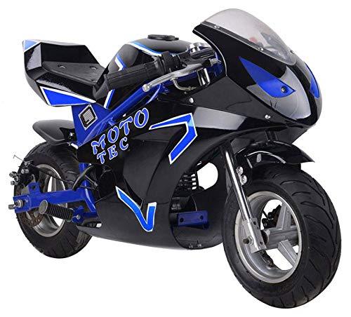 MotoTec Gas Pocket Bike Gt 49Cc 2 Stroke Blue (Mototec Gas Powered Pocket Bike Mini Motorcycle)