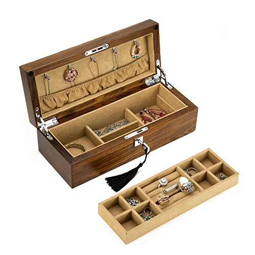 Treasuremap Jewelry box high-grade solid wood ornaments box Jewelry case Suitable for ladies and youth Collect jade, diamond, jewelry and other valuable jewelry walnut wood (Medium-sized)