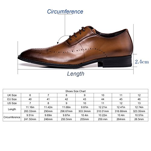 Jivana Oxford Busniess Dress Shoes for Men Father Lace-up (9, Brown-7) by Jivana (Image #2)