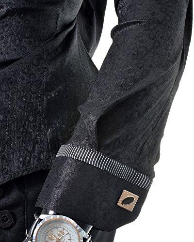 D&R Fashion schwarzes Hemd mit Paisley Muster Schimmernde Freie Manschettenknöpfe Clubbing Feier Party