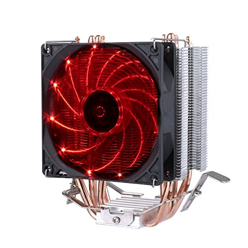 upHere Quiet CPU Cooler with 4 Direct Contact Heatpipes, Red LED Fan,C92R
