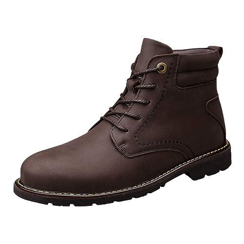 Botines para Hombre Casual Color sólido Punta Redonda Suela de Goma Botas Martin: Amazon.es: Zapatos y complementos