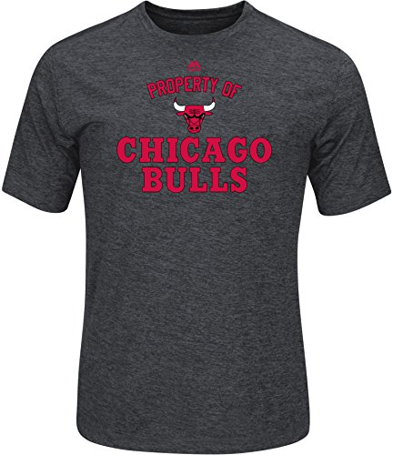 NBA Chicago Bulls Men's Property Of Short Sleeve Crew Neck Synthetic Tee, Small, Charcoal Heather Chicago Bulls Heather