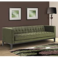 Armen Living LC10103GR Roxbury Sofa in Green Fabric and Black Wood Finish