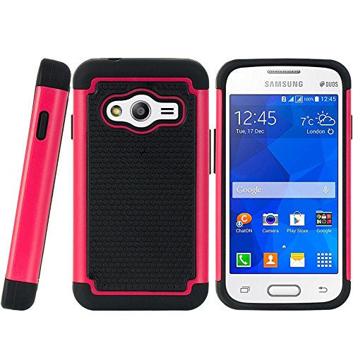 Ace Cover (Galaxy Ace 4 LTE Case, Dreamwireless Dual Layer [Shock Absorbing] Protection Hybrid PC/TPU Rubber Case Cover for Samsung Galaxy Ace 4 LTE, Black/Hot Pink)