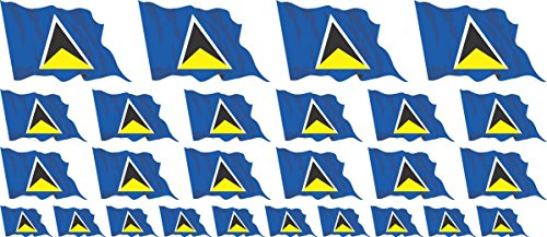 Mini Sticker Pack waving - 4x 51x31mm+ 12x 33x20mm + 10x 20x12mm- Self-Stick - St Lucia - Self-Adhesive - Flag Decals - for Car, Office and Home - Set of 26 ()