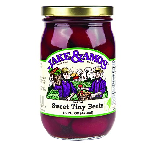 (Jake and Amos Pickled Sweet Tiny Red Beets, 16 Oz. Jar (Pack of 4)