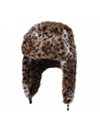 Women's Leopard Print Brown Trapper Quilted Winter Ear Flap Hat
