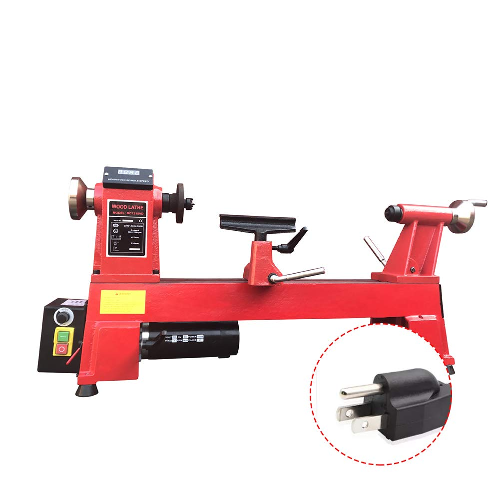 Wood Working Lathe, HomEnjoy Multi-Functional Variable-Speed Wood Lathe with Digital Display for Wooden, Beads, Home, Commercial