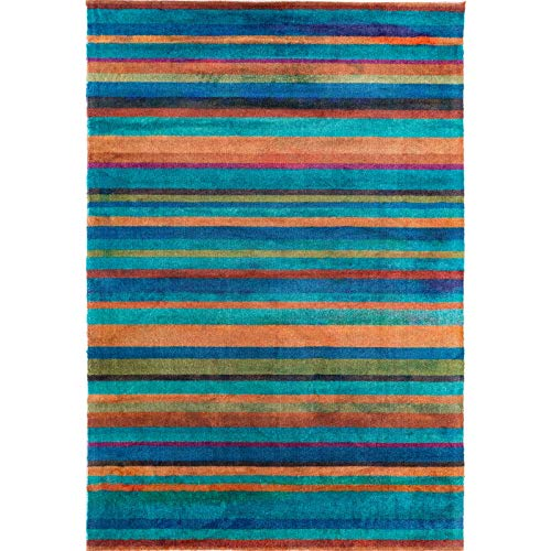 Decomall Edin Modern Contemporary Mosaic Geometric Striped Abstract Area Rug for Living Room Bedroom, 4x6 ft, Multi