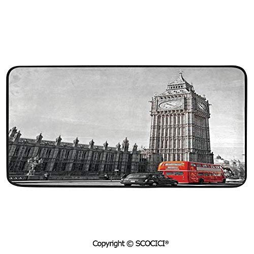 - Rectangle Rugs for Bedside Fall Safety, Picnic, Art Project, Play Time, Crafts, Large Protective Mat, Thick Carpet,London,Big Ben Tower Begining of Westminster Bridge with Black Cab,39