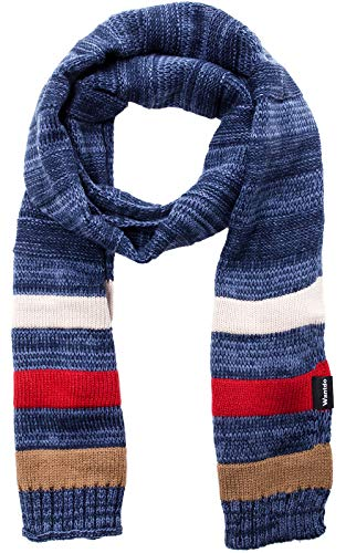 (Wantdo Women's and Men's Cable Knit Wrap Stripes Scarf Blue)