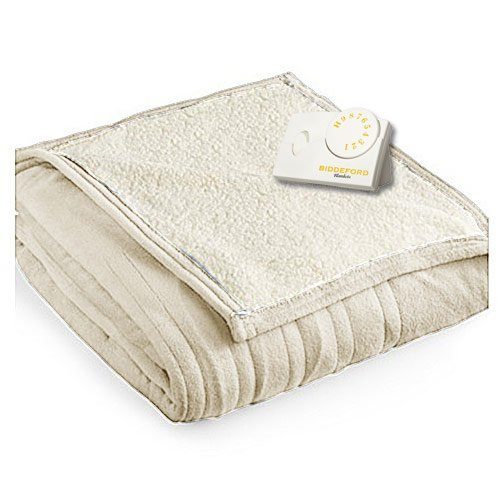 Biddeford 2061-9032138-780 MicroPlush Sherpa Electric Heated Blanket Full Linen Tan